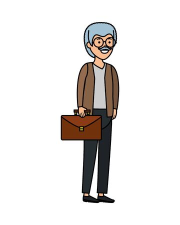 old man with portfolio character vector illustration design