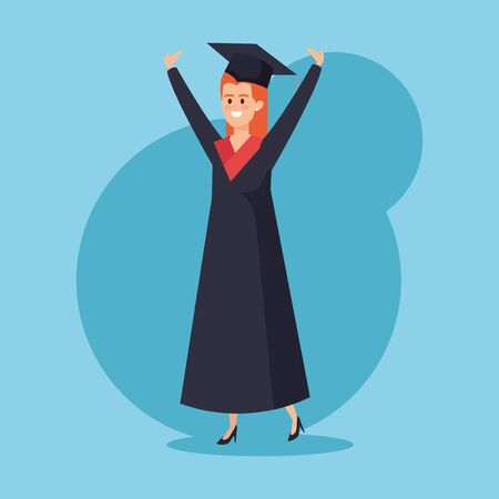 happy woman graduation with rope and cap vector illustration Ilustrace