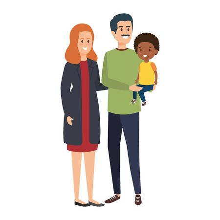 interracial parents couple with son characters vector illustration design 向量圖像