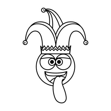 Visage d'émoticône fou avec jester hat Fools day vector illustration design