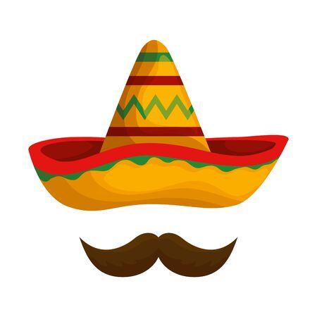 Sombrero mexicano mariachi con bigote, diseño de ilustraciones vectoriales