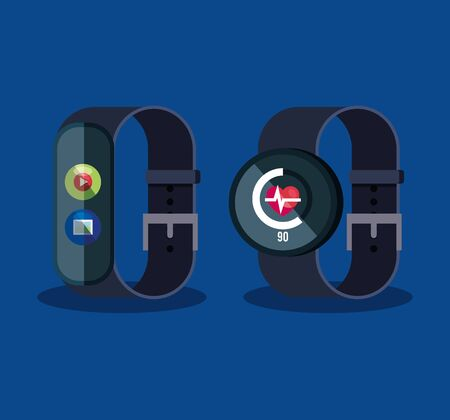 smartwatch technology with video and heartbeat social app vector illustration