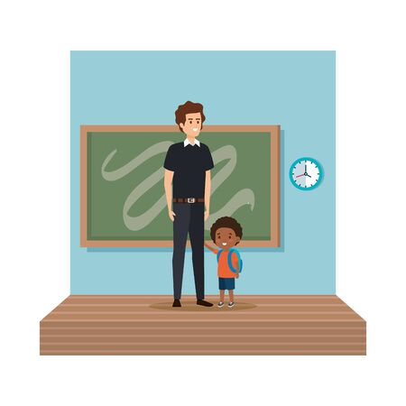 teacher male with schoolboy in classroom vector illustration design Vectores