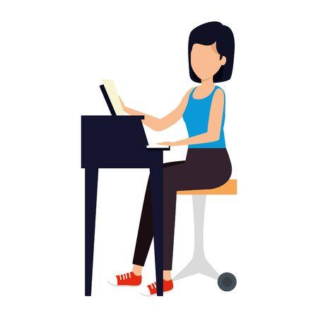woman playing grand piano character vector illustration design Archivio Fotografico - 128321097