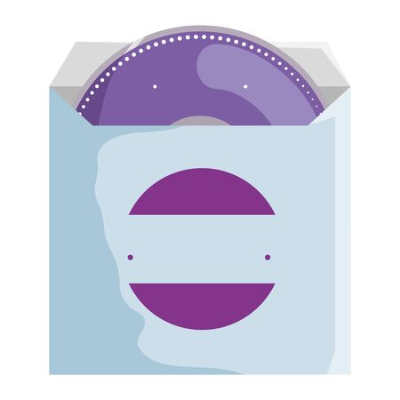 compact disk in bag with company emblem vector illustration design Stock Illustratie