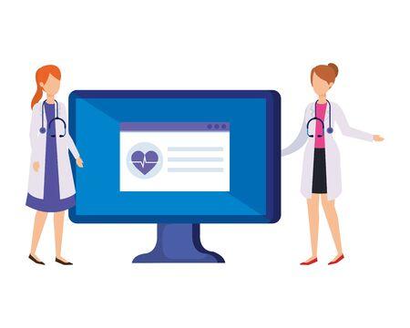 couple of professionals doctors with desktop vector illustration design