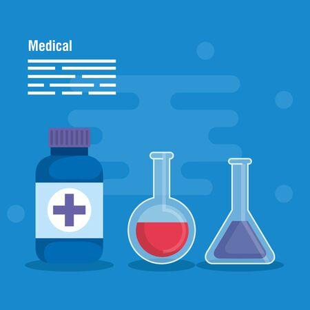 medical erlenmeyer flask diagnosis and pills vector illustration