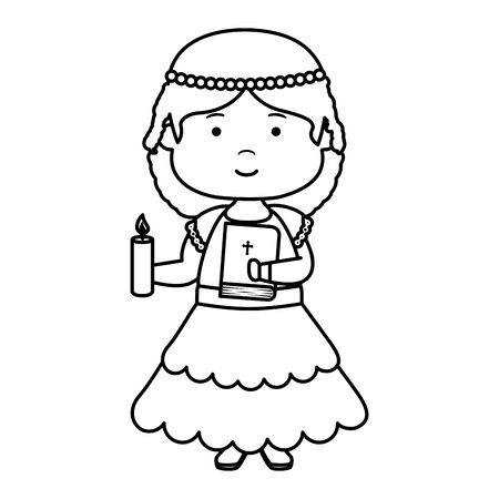 little girl with holy bible first communion character vector illustration design Banco de Imagens - 128358995