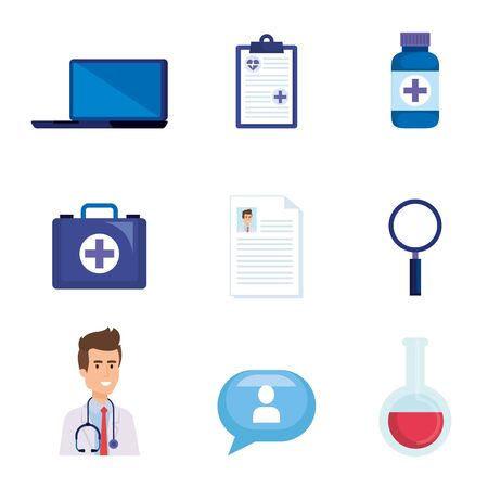 set online diagnosis technology with medical equipment vector illustration