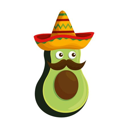 fresh avocado with mexican hat and mustache character vector illustration design Vettoriali