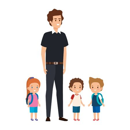 young teacher male with little students vector illustration design Illustration