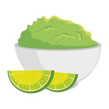 delicious guacamole sauce with lemons fruits vector illustration design Illustration