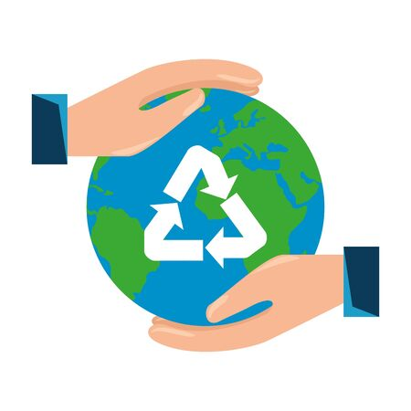 hands protecting earth planet with recycle arrows vector illustration design Illusztráció
