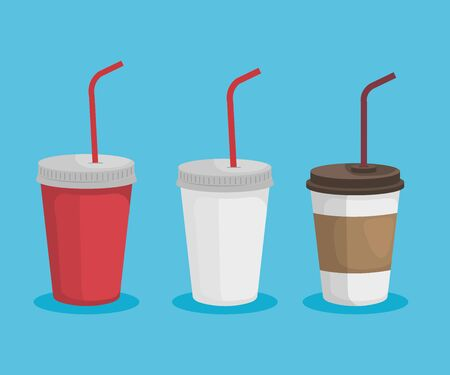 set of toxic plastic cups that ecology pollution vector illustration