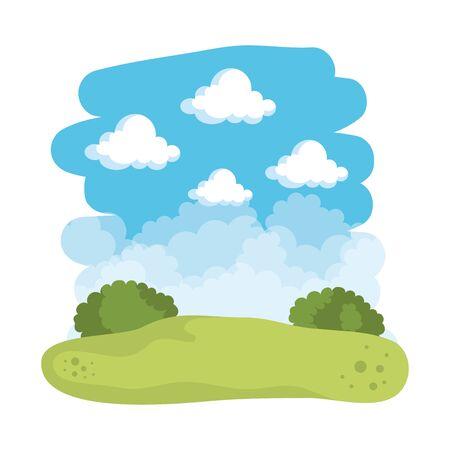 field landscape scene icons vector illustration design Illustration