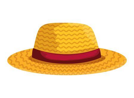 Jardinero femenino sombrero de paja, diseño de ilustraciones vectoriales