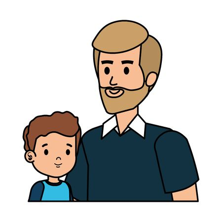 young father with son characters vector illustration design Standard-Bild - 128360024