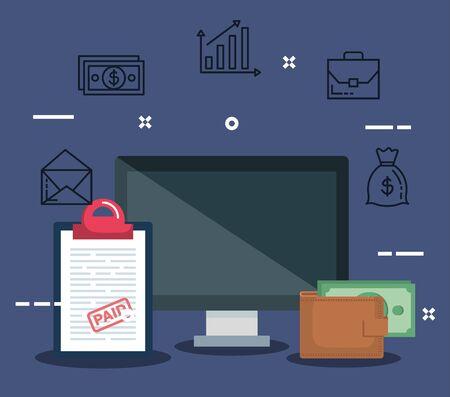 computer with report tax and wallet with bill vector illustration Ilustración de vector