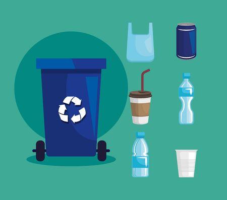 set of recycle basket with plastic bottles and cups vector illustration Ilustração