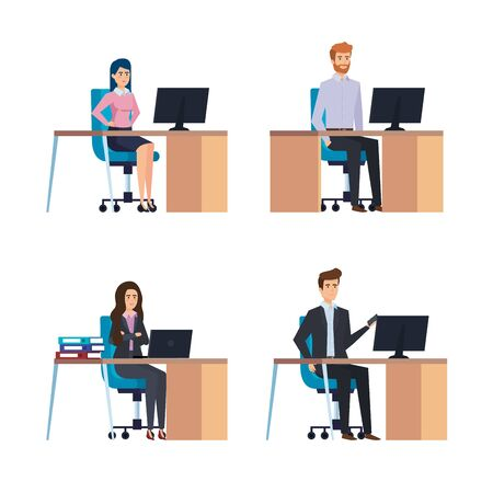set professional businesswomen and businessmen in the job vector illustration