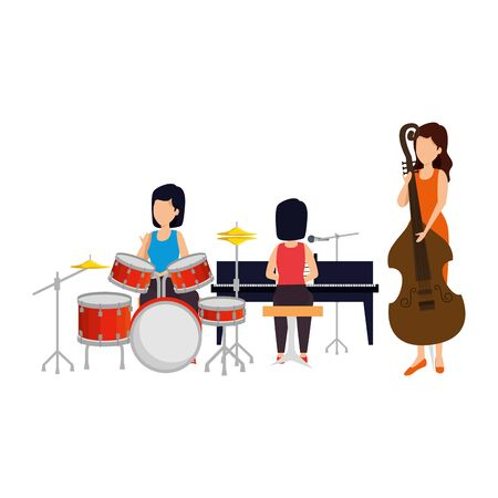 women playing musical instruments vector illustration design Ilustração
