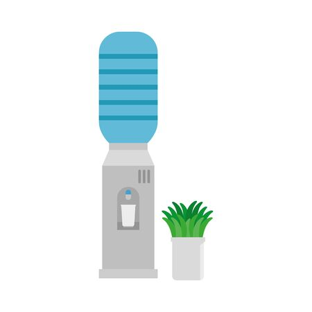 water dispenser machine and houseplant office equipment vector illustration design