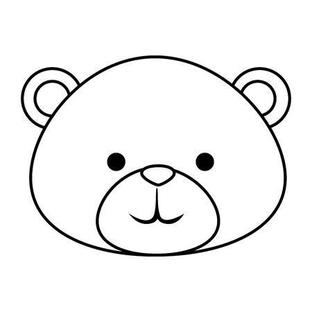 cutte little bear teddy head vector illustration design Illustration