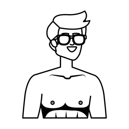 young man shirtless with sunglasses vector illustration design