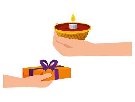hands lifting candle and gift ramadan kareem vector illustration design Çizim