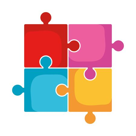 puzzle game pieces solution icons vector illustration design Stock Illustratie