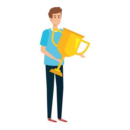 young man lifting trophy cup award vector illustration design Illustration
