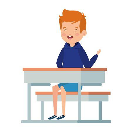 happy little student boy seated in school desk vector illustration design Foto de archivo - 128349288