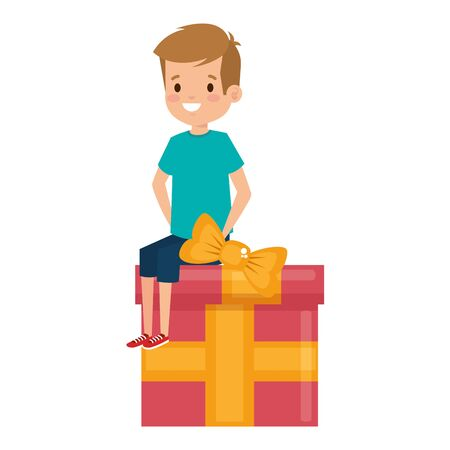 little school boy seated in giftbox vector illustration design
