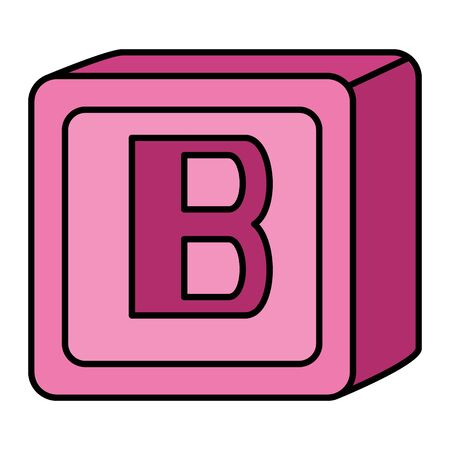 alphabet block toy baby with letter b vector illustration design