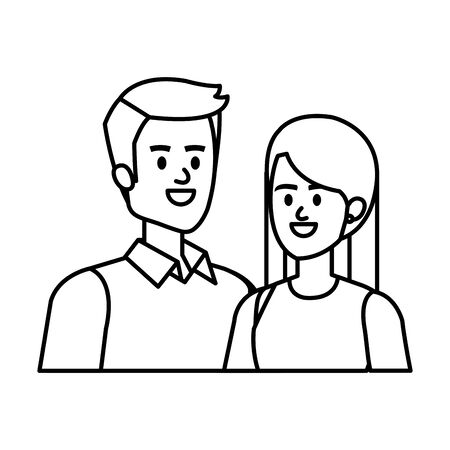 young couple lovers avatars characters vector illustration design