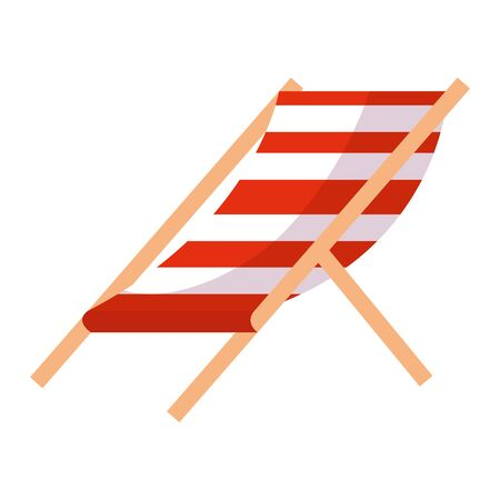 beach chair stripes relax icon vector illustration design