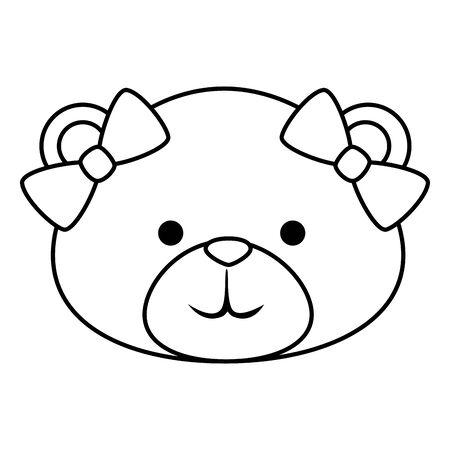 cute bear teddy female with bows vector illustration design Illustration