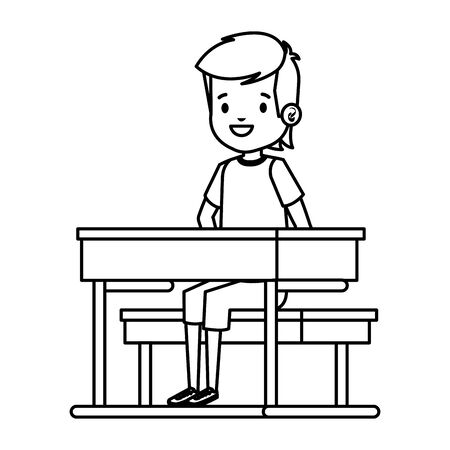 happy student boy seated in school desk vector illustration design Foto de archivo - 128367906