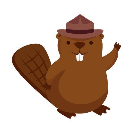 cute beaver with ranger hat mascot animal vector illustration design
