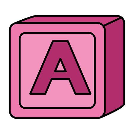 alfabeto blocco giocattolo bambino con lettera a illustrazione vettoriale design