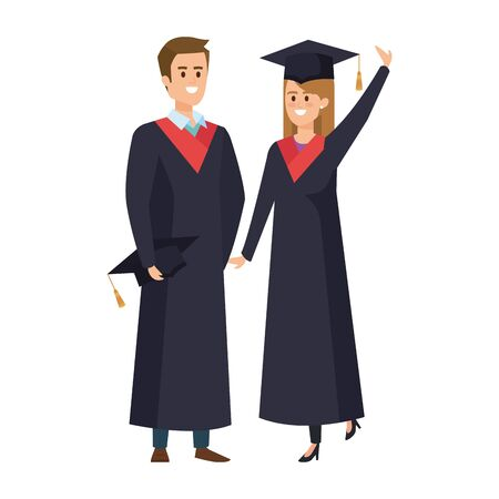 young couple students graduated celebrating vector illustration design  イラスト・ベクター素材