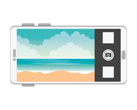 smartphone with summer beach seascape scene vector illustration design 向量圖像