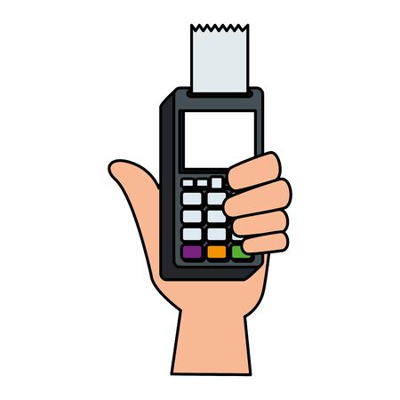 hand with voucher machine electronic commerce vector illustration design