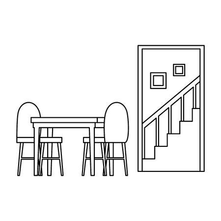 house place dinning room scene vector illustration design
