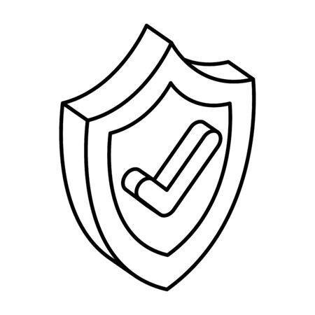 shield security with ok symbol vector illustration design Çizim
