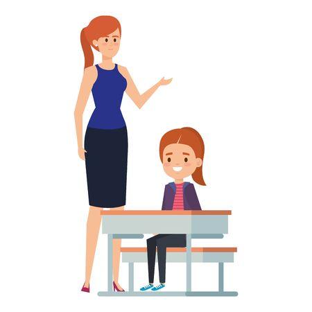 studentessa nel banco di scuola con illustrazione vettoriale di insegnante femminile design female Vettoriali