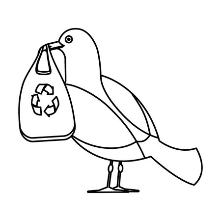 seagull with plastic bag and arrows recycle vector illustration design
