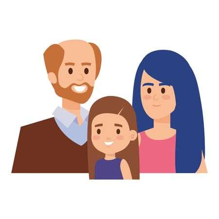 adults parents couple with little daughter vector illustration design