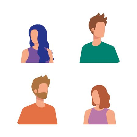 set of nice women and men with blouse and shirt over white background, vector illustration Banque d'images - 128393207