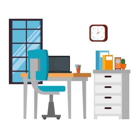 office work place scene with laptop vector illustration design